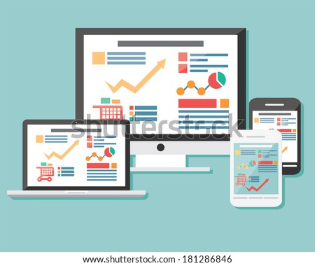 Collection of flat icons mobile cellular phone, laptop, computer, electronic device, responsive web design, infographic elements, vector illustration - stock vector