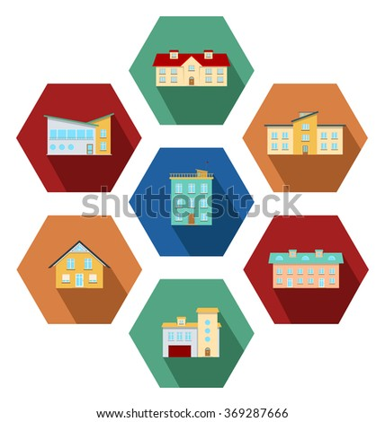 Collection of flat icons with modern city houses and country houses - stock vector