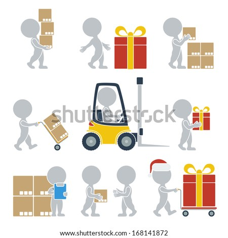 Collection of flat icons with people on shipping. Vector illustration. - stock vector