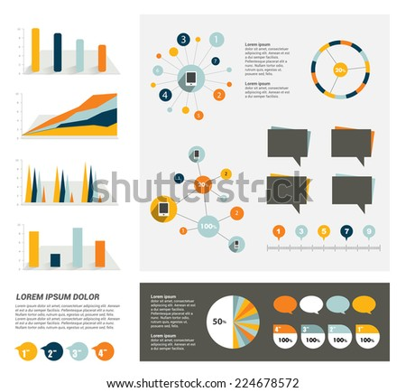 Collection of flat infographics elements. Colorful set template.  - stock vector
