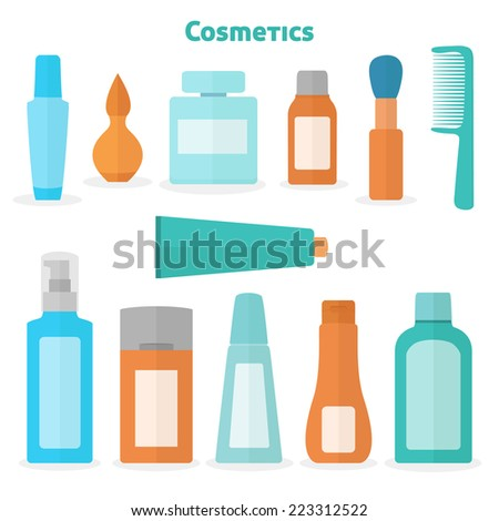 Collection of flat perfume and cosmetic icons - stock vector