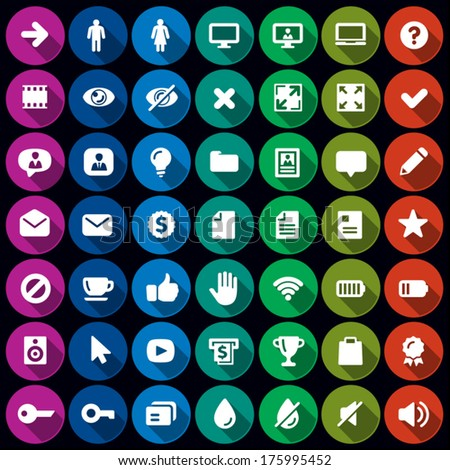 Collection of 49 flat round icons - 2  - stock vector