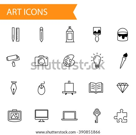 Collection of flat thin line vector icons, art, design and graphics icon set in modern style, different artistic objects signs, material design - stock vector