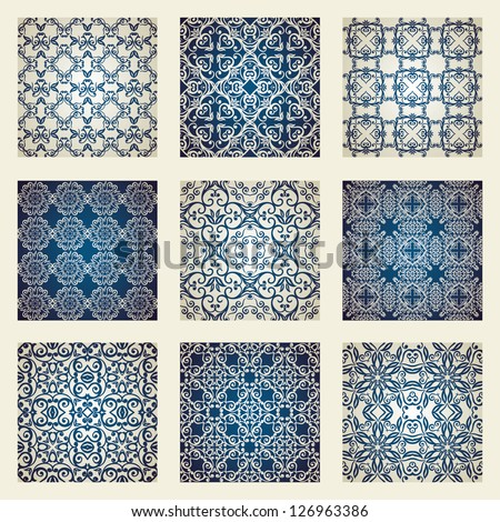 Collection of floral damask ornamental wallpapers - stock vector