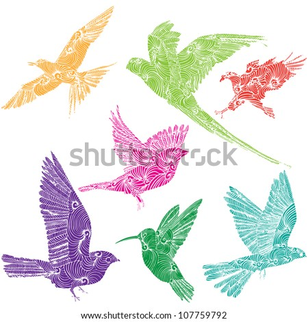 collection of flying birds - stock vector