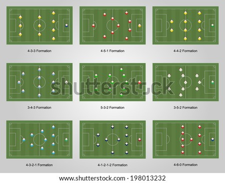 Collection of football strategy formation type, 9 types - stock vector