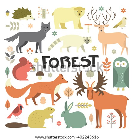 Collection of forest animals arranged in a circle. Flat style illustration isolated on background.  Zoo cartoon collection for children books and posters. Forest animals. - stock vector