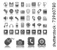 Collection of forty-four grey web icons - stock vector