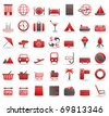 Collection of forty two red and grey travel, vacation and shopping icons, isolated on white background - stock vector