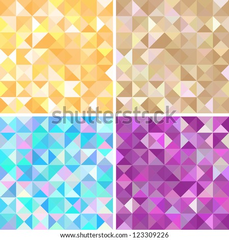 Collection of four abstract geometric seamless pattern. Colorful pattern with triangles. - stock vector