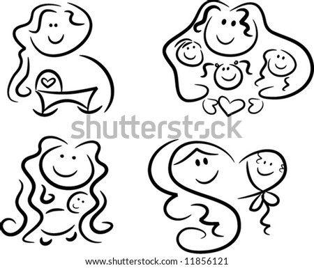 Collection of four black-and-white icons representing motherly love: Pregnant mom looking forward to her baby's birth, mom and kids, mom and baby (vector)