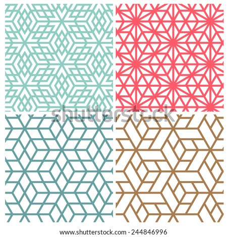 Collection of four color star and cube line vector patterns - stock vector