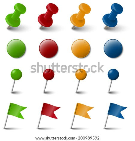 Collection of four colored marking accessories - stock vector