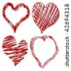 Collection of four hearts - vector illustration - stock photo