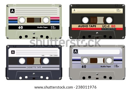 Collection of four plastic audio cassettes tape. Different colorful music tapes. Gray set. old technology, realistic retro design, vector art image illustration, isolated on white background eps10  - stock vector