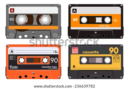 Collection of four plastic audio cassettes tape. Different colorful music tapes. Orange set. old technology, realistic retro design, vector art image illustration, isolated on white background eps10  - stock vector
