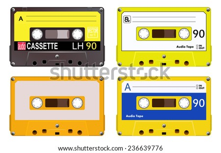 Collection of four plastic audio cassettes tape. Different colorful music tapes. Yellow set. old technology, realistic retro design, vector art image illustration, isolated on white background eps10 - stock vector