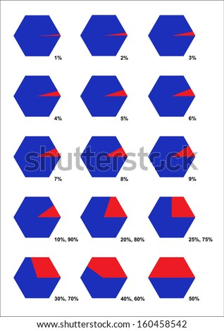 Collection of fraction hexagon. Sure! You can divide it easily. Can used for workflow layout, banner, diagram, number options, step up options, web design. - stock vector