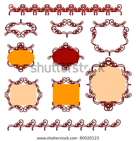 Collection of frame design elements and icons - stock vector