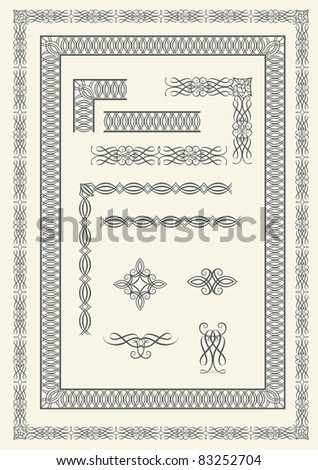Collection of frames and calligraphic elements