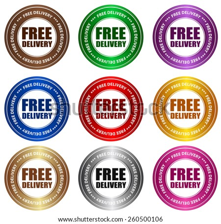 Collection of free delivery stickers in various colors specially for online shops - stock vector