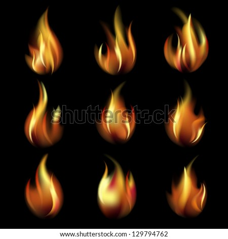 Collection of friezes from the fire on a black background.This file contains transparency. EPS10. Mesh. - stock vector