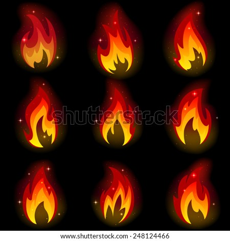 Collection of friezes from the fire on a black background.This file contains transparency.  Mesh. - stock vector