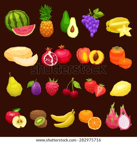 Collection Of Fruits Flat Icons, Fruits Set On Brown Background