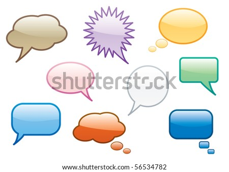 Collection of fun colorful vector chat or speech bubbles. - stock vector