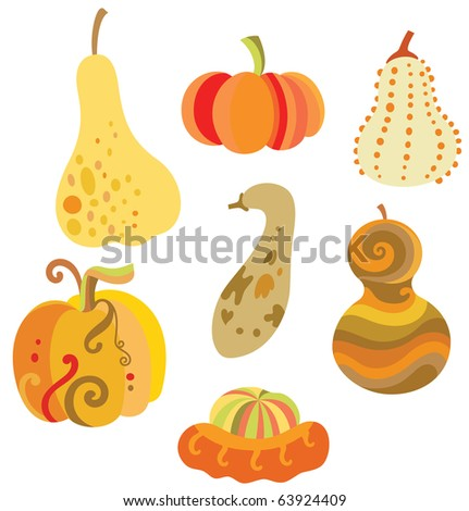 Collection of fun pumpkins with various shapes. - stock vector