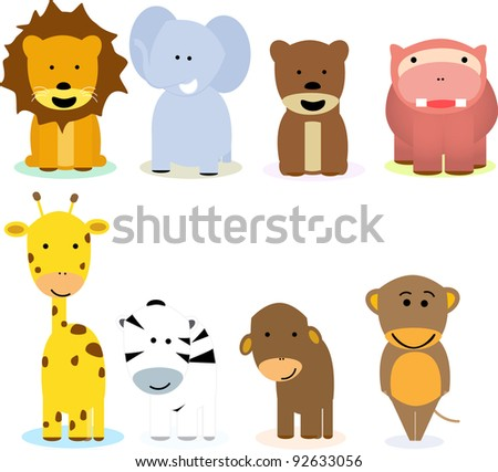 collection of funny animal cartoons - stock vector