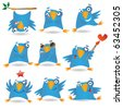 Collection of funny blue birds, vector illustration - stock vector