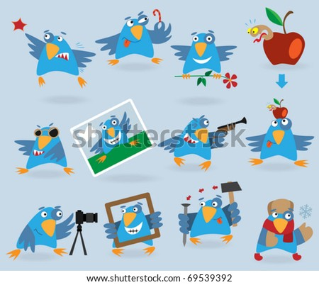 Collection of funny blue birds, vector illustration for web design - stock vector