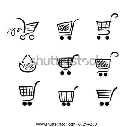 collection of funny carts - stock vector