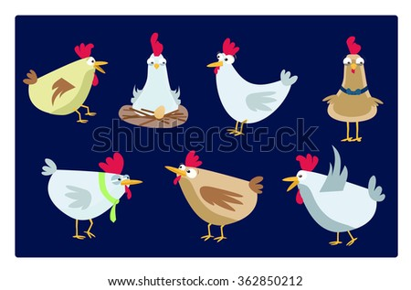 collection of funny chickens - stock vector