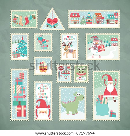 Collection of funny Christmas post stamps. Vector illustration. - stock vector