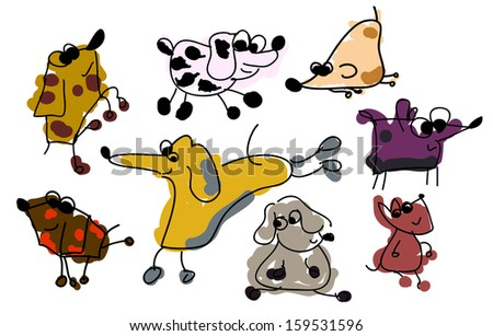 Collection of Funny Sketch Dogs - stock vector