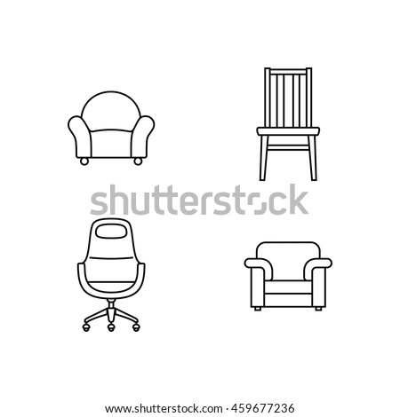 Collection of furniture icons. Icons for website of furniture retailer. Linear style
