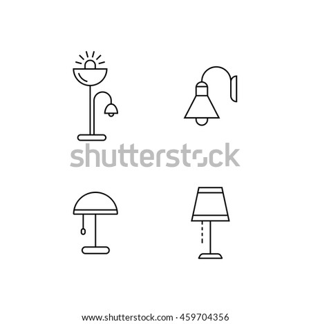 Collection of furniture icons. Lamps and lighting devices. Icons for website of furniture retailer. Linear style. - stock vector