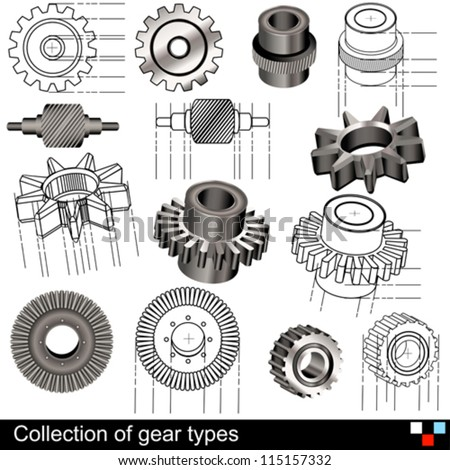 Collection of gear types illustrations. - stock vector