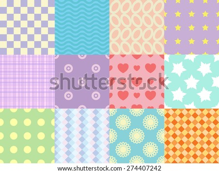 Collection of gentle vector seamless patterns. Abstract wallpapers. Decorative background for cards, invitations, web design. - stock vector