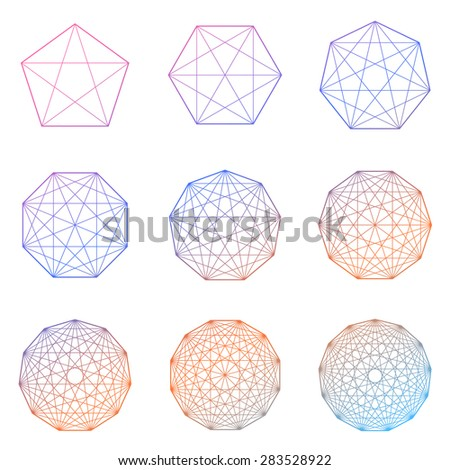 Collection of geometric colored shapes on white background. Vector - stock vector