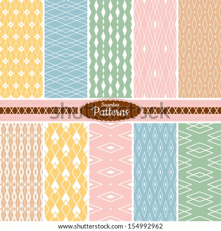 Collection of 10 geometric colorful seamless pattern background. Great for web page backgrounds, wallpapers, interiors, home decor, apparel, etc. Vector file includes pattern swatch for each pattern. - stock vector