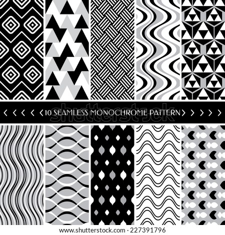 Collection of 10 geometric seamless pattern background. Great for web page backgrounds, wallpapers, interiors, home decor, apparel, etc.Vector file includes pattern swatch for each pattern.   - stock vector