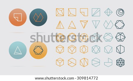 Collection of 30 geometric shapes. Hexagons, Triangles, Squares,Circles, Crystals Line design elements.Trendy hipster icon,logo, logotypes. Vector illustration. Isolated  - stock vector