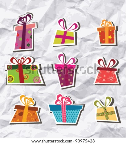 Collection of gift boxes - stock vector