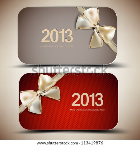 Collection of gift cards with ribbons. 2013 - stock vector