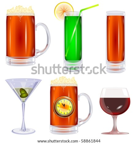 Collection of glasses on a white background vector eps10 - stock vector