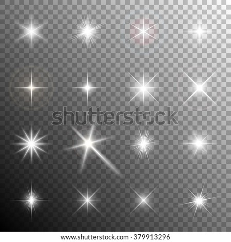 Collection of glittering stars and flickering lights. Transparent light effects. Vector illustration - stock vector