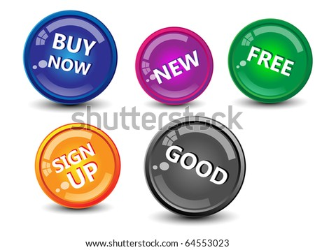 Collection of glossy buttons-vector - stock vector